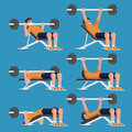 Set of man in weight training chest workout poses.