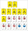set of mandatory sign, hazard sign, prohibited sign, occupational safety and health signs, warning signboard, fire emergency sign