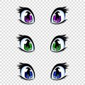 Set of manga, anime style eyes in green, blue and lilac colors Royalty Free Stock Photo