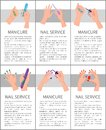 Set of Manicure and Nail Service Colorful Cards