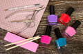 Set for manicure and pedicure with optional accessories. Royalty Free Stock Photo