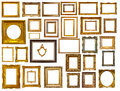 Set of many gold frames isolated over white background may be used for photo or picture Stock Photos