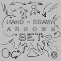 Set many hand drawn arrows your design web site Stock Photo