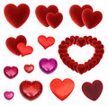 Set of many isolated red hearts valentine day on white Royalty Free Stock Photo