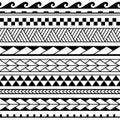 Set of maori ornaments bracelets tattoo. Vector ethnic horizontal seamless pattern.
