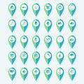 Set of map pin pointers icons Royalty Free Stock Photo