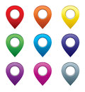 Set of map pointers vector gradient eps Royalty Free Stock Photography