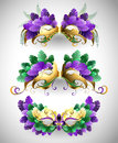 Set of Mardi Gras masks Royalty Free Stock Photo