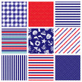 Set of marine backgrounds stripe dots and check Stock Images