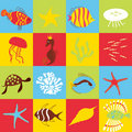 Set of marine life pattern Stock Photography