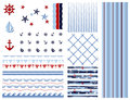 Set of marine and nautical backgrounds. Sea theme. Seamless patterns collection for your design. Vector illustration. Royalty Free Stock Photo