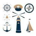 Set of marine objects