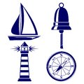 Set of marine symbols  Vector Illustration. Royalty Free Stock Images