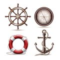 Set of marine symbols on white background vector illustration Royalty Free Stock Image