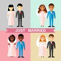 Set of a married asian, african, american, european, international couple people