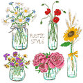Set of mason jars with flowers colorful isolated and bottle wedding birthday shower party design decoration elements Royalty Free Stock Images