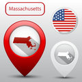 Set of Massachusetts state with flag america and map pointer Royalty Free Stock Photo