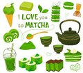 Set of different tea products of the matcha. Matcha powder, macarons, ice cream, cake, bamboo spoon, teapot, drink, sweets,tea, te Royalty Free Stock Photo