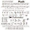 Set of mathematical signs and symbols Royalty Free Stock Photo