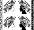 Set of mayan woman profiles vector illustration Royalty Free Stock Photography