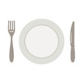 Set for meal, a knife a fork and a plate