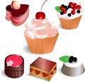 Set med 6 cakes som isoleras på vit bakgrund Fotografering för Bildbyråer