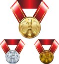 stock image of  Set of medals, gold silver and bronze, on ribbons