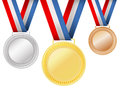 Set of medals on white Stock Photos