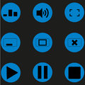 Set media player icons flat Royalty Free Stock Photo