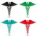 Set of medical caduceus symbol multicolored with shadow Royalty Free Stock Photo