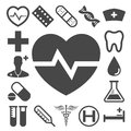 Set of medical health care icons and on white background Stock Image