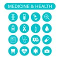 Set of 16 Medical and Health web icons in line style. Medicine and Health Care, RX, infographic. Vector illustration