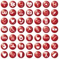 Set of medical icons on circular red colored buttons, , web design elements medicine Royalty Free Stock Photo