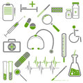 Set of medical icons with green and gray colors Royalty Free Stock Photography