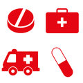 Set of medical icons in red color. Vector illustration