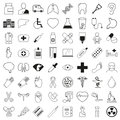 Set of 64 medical icons, thin line style, vector illustration