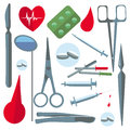Set  medical items, tools, scissors, enema Royalty Free Stock Photo