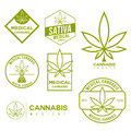 Set of medical marijuana cannabis emblems