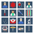 Set of Medical object flat icon. Vector Illustration.