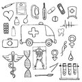 Set of medical symbols and signs hand drawn on white background Royalty Free Stock Photos