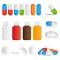 Set medicine pills tablets bottles white background Royalty Free Stock Image