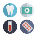 Set medicine tooth pill test tube first aid Royalty Free Stock Photo