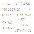 Set medicine words pills isolated white background Royalty Free Stock Image