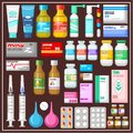 Set of medicines image drugs and medical products Royalty Free Stock Image
