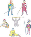 Set of medieval knights and warriors with spears other weapon vector illustration Royalty Free Stock Image
