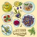 Set of mediterranean food Royalty Free Stock Photo