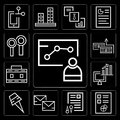 Set of Meeting, Graphics, Documents, Postal, Pin, Computer, Briefcase, Money, Magnifying glass, editable icon pack Royalty Free Stock Photo