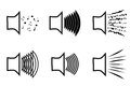 A set of megaphone icons emitting a variety of sound waves. A image of the musical columns from which different sounds burs