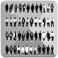 Set of men black silhouettes with white cloths on top totally editable collection man isolated grey removable background Stock Photo