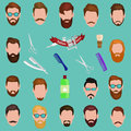 Set of men cartoon hairstyles with beards and mustache. Collection fashionable stylish . Vector illustration